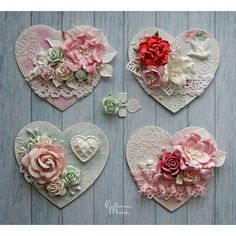 Read information on Shabby chic interior Heart Decorations, Valentine Decorations, Valentine Crafts, Decoration St Valentin, Shabby Chic Hearts, Candy Cards, Heart Crafts, Scrapbook Embellishments, Shabby Chic Embellishments