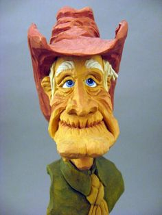 Hand Carved Cowboy Bust by CarvingsbyTony on Etsy, $75.00