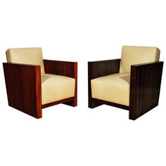 Pair of French Art Deco Cubist Armchairs | From a unique collection of antique and modern armchairs at https://www.1stdibs.com/furniture/seating/armchairs/