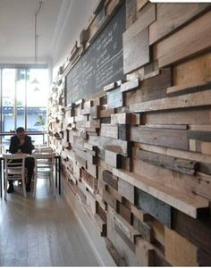 Coffee Shop reclaimed wood wall.