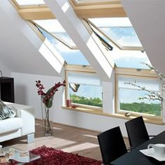 The roof window options for your loft conversion are endless. Attic House, Attic Loft, Loft Room, Attic Rooms, Attic Spaces, Attic Bathroom, Attic Library, Attic Ladder, Attic Office