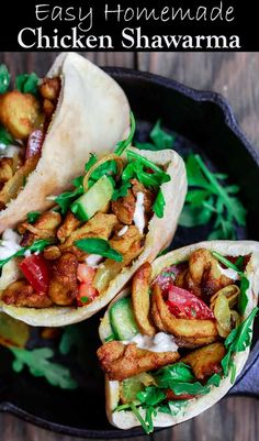 Best Chicken Shawarma Recipe You Will Find Easy, Healthy Baked Chicken Shawarma With Homemade Shawrama Spices And A Simple Marinade. Serve It In Pita Pockets With Recommended Fixings. Bit by bit Tutorial And Video Will Walk You Through This Simple Recipe. Healthy Baked Chicken, Easy Chicken Recipes, Easy Healthy Recipes, Easy Dinner Recipes, Simple Recipes, Pasta Recipes, Salad Recipes, Schawarma Rezept, Shawarma Spices