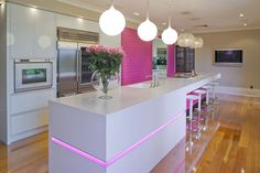 Beautiful kitchen design with pink color... | Visit : roohome.com  #kitchen #kitchendesign #amazing #awesome #great #simpledesign #design #decoration #interiordesign