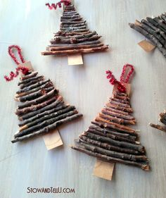Rustic twig and cardboard Christmas tree ornaments - StowandTellU ...