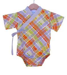 Baby Kimono Bodysuit - ORANGE PLAID - Baby outfit - cool baby clothes japanese jinbei by koolmono on Etsy