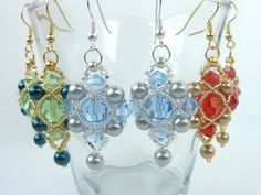FREE beading pattern for crystal and pearl earrings, framed with 15/0 and 11/0 seed beads. Great for a pendant too!