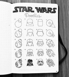 💪💪💪 This spread features two of my favorite characters in the series! Who is your favorite Star Wars character? Star Wars Kunst, Star Wars Art, Star Wars Drawings, Easy Drawings, Bullet Journal Ideas Pages, Bullet Journal Inspiration, Star Wars Zeichnungen, Star Wars Tattoo, Star Wars Poster