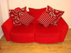2 X 2 SEATER DFS SOFA - RED PLAIN FABRIC - GREY PATTERN CUSHIONS in Stoke-on-Trent | Sofas, Armchairs, Couches & Suites for Sale | Gumtree.com