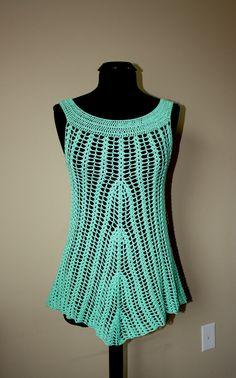 Mint green crochet tunic. Ready to ship. by darina23 on Etsy, $48.00