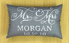 20% OFF MR and MRS custom Name and Date Pillow Cushion Lumber Valentine Personalized Gift Wedding Anniversary All Sizes And Color by NeaPillows on Etsy https://www.etsy.com/listing/199928697/20-off-mr-and-mrs-custom-name-and-date