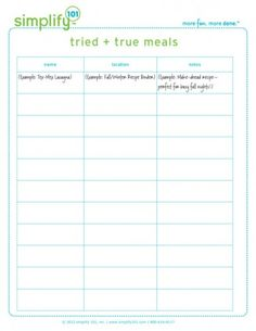Free Printable to Simplify Meal Planning