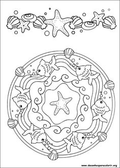 ☮ American Hippie Art ~ Color it Yourself . Seashore Mandala Make your world more colorful with free printable coloring pages from italks. Our free coloring pages for adults and kids. Mandala Coloring Pages, Coloring Book Pages, Printable Coloring Pages, Coloring Sheets, Coloring Pages For Kids, Embroidery Patterns, Cross Stitch, Quilts, Creative