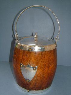 Edwardian Oak Biscuit Barrel / Ice Bucket with by BiminiCricket, $45.00