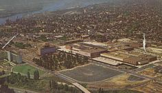 """From a 1963 postcard folder titled """"Souvenir of Lloyd Center - Portland, Oregon"""" published by Curt Teich & Co. Bay City Oregon, Portland Oregon, Portland Neighborhoods, Places Of Interest, Back In The Day, Aerial View, City Photo, The Neighbourhood, Travel Destinations"""