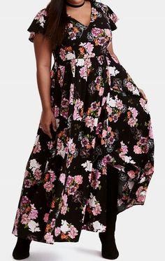 0675fe738bc NWT Torrid Maxi Dress 2 2x Floral Print Challis Plus Size Faux Wrap Full  Sweep  Torrid  sundressmaxiALineDress  Casual