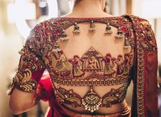 New Blouse Designs - Latest Saree Blouse Back Neck Designs - Buy lehenga choli online Sari Blouse, Latest Saree Blouse, Pattu Saree Blouse Designs, Blouse Back Neck Designs, Simple Blouse Designs, Bridal Blouse Designs, Indian Blouse Designs, Sari Design, Red Lehenga