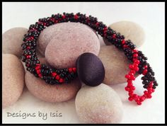 Black & Red Beadwork Bracelet by DesignsbyIsisUK on Etsy, £10.00
