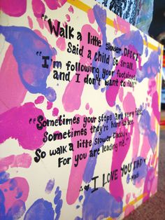 Kids foot prints and a sweet poem. Love this idea.