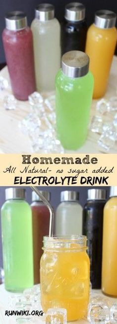 DIY Homemade All Natural Sugar Free Electrolyte Sports Drink Drink- Gatorade and other store bought  drinks are full of sugar and artificial junk- not only is this recipe quick and easy to make, you can make ahead and store in the frig for up to two weeks. These got me through my 12 week half marathon training and my kids love them too. Great when their sick- can be frozen into pops. Running motivation | fitness tips