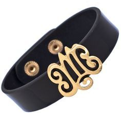 Pin for Later: 21 Luxe Pieces of Jewelry Every Woman Should Own  Blu Bijoux Black Patent Leather Monogram Bracelet ($28)