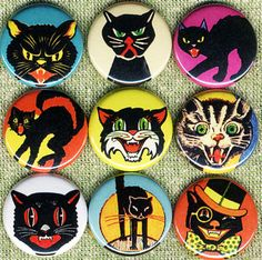 vintage cat pins http://www.etsy.com/listing/86180371/9-vintage-halloween-spooky-cats-1-inch