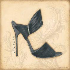 Elegant Black Heel by Marrott, Stephanie Decoupage Shoes, Decoupage Paper, Black Heals, Walk In My Shoes, Shoe Art, Sexy High Heels, Vintage Boutique, Girly Things, Girly Stuff