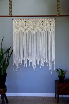 "Macrame Wall Hanging - Natural White Cotton Rope on 36"" Wooden Dowel w/ Beads - Wedding Backdrop, Curtain - Boho Decor - READY TO SHIP"