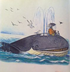 Whales in famous Russian book for kid - Doctor Aibolit. Artist - Suteev.