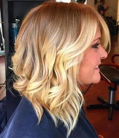 bright blonde balayage highlights for a long bob