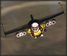 Jetman, sponsored by Breitling, flying at high velocity over Rio De Janeiro in early May, 2012.