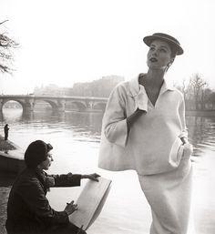 "Suzy Parker by the Seine, costume by Balenciaga, Paris,"" 1953. Photo by Lousie Dahl-Wolfe"