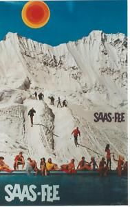 Vingate Ski Poster from Saas-Fee Switzerland Saas Fee, Vintage Ski Posters, Snow Place, Best Ski Resorts, Ski Vacation, Montana, Vintage Images, Illustrations, Vintage Posters