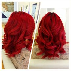 FY! Hairstyle — Blood red color with loose curls. Created by...