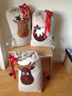 Santa sacks by LilyJackdesigns on Etsy, £25.00