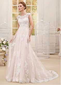 Delightful Tulle & Satin Scoop Neckline A-line Wedding Dresses With Beaded Lace Appliques