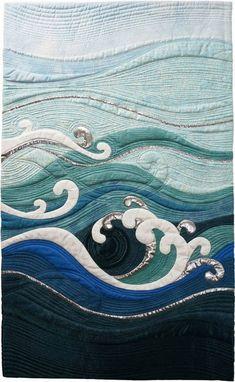 SAQA-KS-MO-OK: Featured Artist: Pat Hilderbrand sewing textile ocean cushions environment in art stitch quilt business plan Ocean Quilt, Beach Quilt, Landscape Art Quilts, Landscapes, Quilt Modernen, Quilting Designs, Art Quilting, Quilting Ideas, Quilt Art