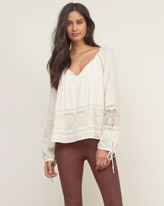 Womens Laser-cut Peasant Top