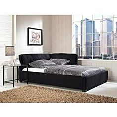 Tufted Reversible Sofa Lounge Daybed Couch Full Size Day Bed Corner Black By D H