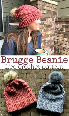 Crochet Hat Back in Brugge Slouchy Beanie free crochet pattern in With Love yarn and Chic Sheep by Marly Bird yarn from Heart Hook Home. - This crochet slouchy beanie is worked in one piece, and is easily customized to specific sizes. I am in love! Bonnet Crochet, Crochet Beanie Pattern, Knit Crochet, Beanie Pattern Free, Crotchet, Crochet Dolls, Slouch Beanie Crochet Pattern, Free Crochet Hat Patterns, Winter Knitting Patterns