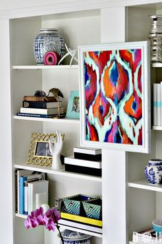 Styling | Hanging Art on the Bookcases