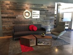 Target Commercial Interiors uses Stikwood peel and stik wood wall planking