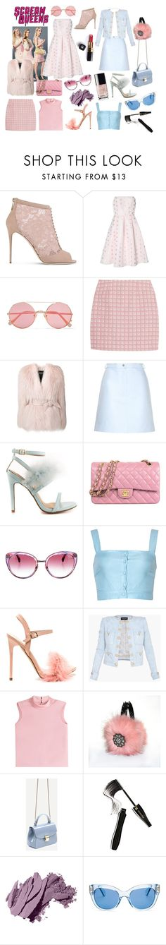 """scream queens inspired outfits"" by lizzynupa ❤ liked on Polyvore featuring Dolce&Gabbana, True Decadence, Sunday Somewhere, Alexander Lewis, Balmain, Carven, Cape Robbin, Chanel, RED Valentino and Lancôme"
