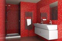 Идеи дизайна красной ванной комнаты