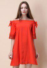 Coral Story Off-shoulder Dress