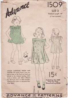 2 Vintage 1930s-40s Children's Sewing Patterns - LIttle Girl's Dresses with Unusual Shoulders - Advance 1509 & Butterick 7358, Size 2, Rare. $25.00, via Etsy.