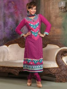 Pink Georgette Suit With Resham Embroidery Work