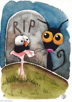 ACEO Original watercolor painting art illustration Halloween black cat crow RIP