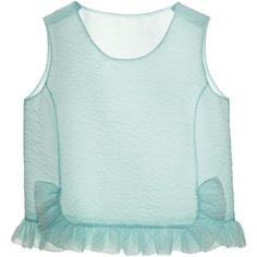 Rochas Matte Jacquard Cloque Ruffle Top In Light Blue