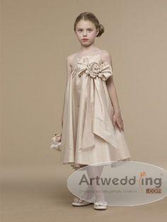 Spaghetti Straps Taffeta Empire Flower Girl Dress with Floral Waist