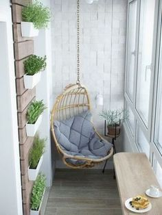 small balcony swing More Balcony Decor planters Apartment Balcony Decorating, Apartment Balconies, Apartment Living, Apartment Plants, Apartment Ideas, Studio Apartment, Apartment Design, Cheap Apartment, Living Rooms